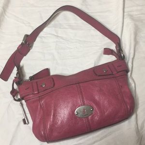 Red leather Fossil Maddox hobo